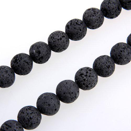 Strang-Lava-Steinperlen-Perlen-Bead-Strang-Ball-12mm-Schwarz-A8T3