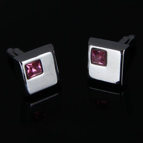 Un-Par-de-Cristal-Gemelo-Cuadrado-rosado-de-Camisas-de-Hombre-de-La-Boda-E9T1