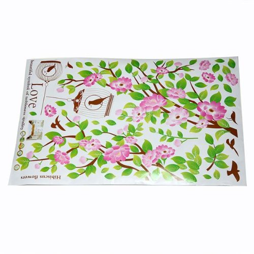 Pink-flower-tree-bird-cage-wall-Sticker-Decorative-stickers-for-Wall-House-G7Z8