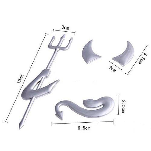 3X-Autocollants-pour-pare-chocs-d-039-argent-chrome-3D-diable-Embleme-Y3M1-RW1 miniature 2