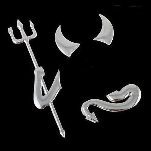 3X-Autocollants-pour-pare-chocs-d-039-argent-chrome-3D-diable-Embleme-Y3M1-RW1 miniature 3