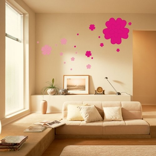 2X-Pegatina-Adhesivo-vinilo-decorativo-pared-Flor-Rosa-Rojo-20-50CM-I5X5