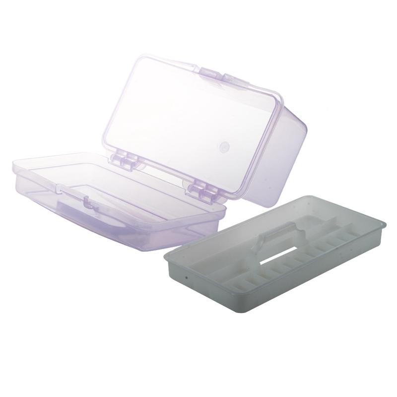 Plastic Handle 2 Layer Hardware Tools Storage Box Clear Purple X7I4
