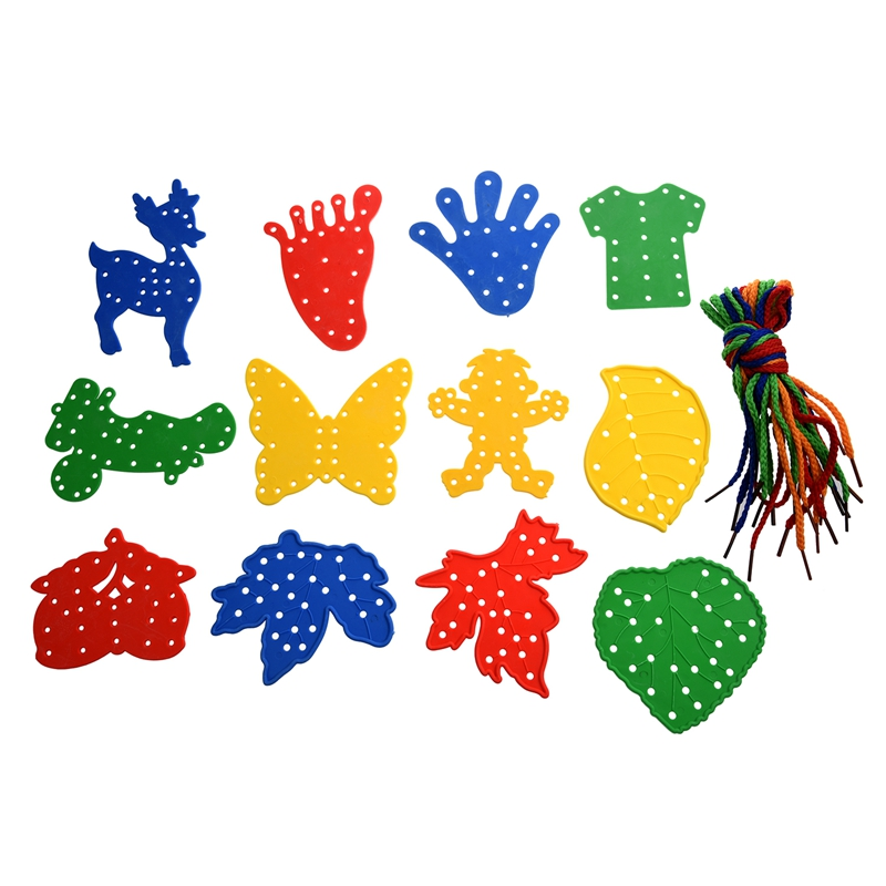 12Pcs Children Educational Threading Toy Various Shapes w/ Strings E3A4