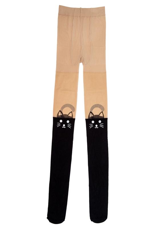 50419bea3 Kitten Print Knee High Length Socks CAT Tail Tattoo Tights Pantyhose Stocki  E8V5