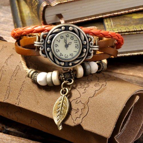 Frauen Damen Webart-Verpackung Leder Armband Armreif Armbanduhr - gelb B2T3) 2I