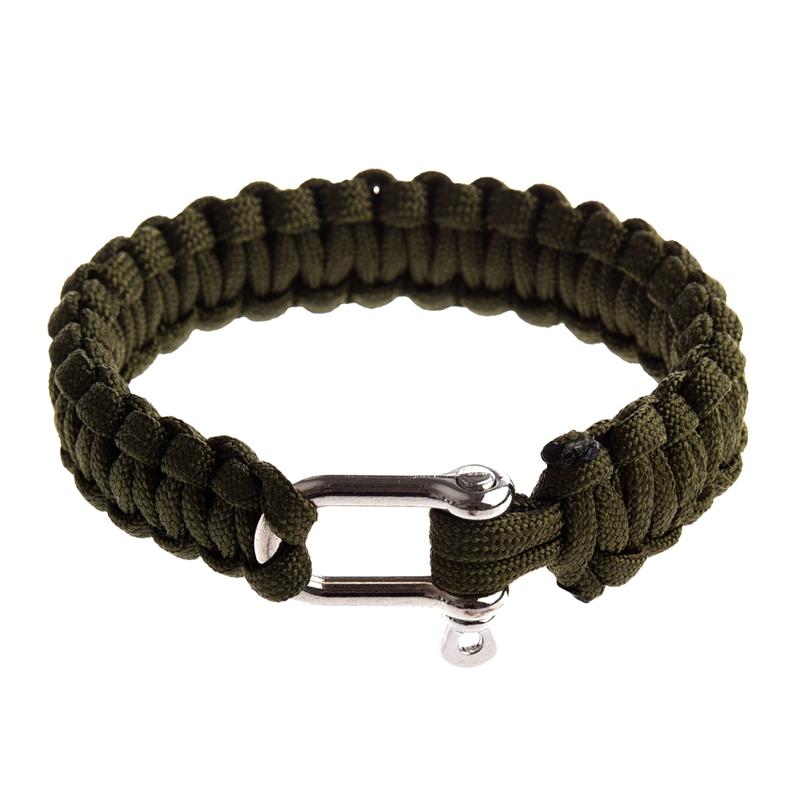 Bracelet de de de Survie Paracord 550 avec Manille de Uen Acier Inoxydable - Olive S0 7e695b