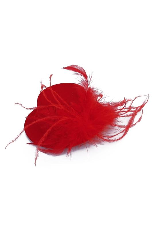 damen Haarspange Rot Feder Burlesque Punk Mini Hut Rot W5g2 Sonderabschnitt 1x H5
