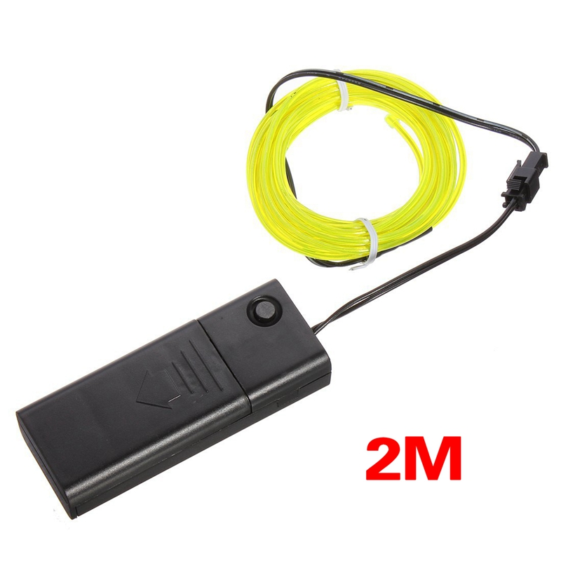 5X(2M Tira Cable EL Lampara Neon Flash Brillo Flexible Verde Fluorescente + M1R6