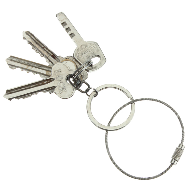 2X-Stainless-Steel-Screw-Locking-Wire-Keychain-Cable-Key-Rings-Outdoor-AcceC1P2 thumbnail 7