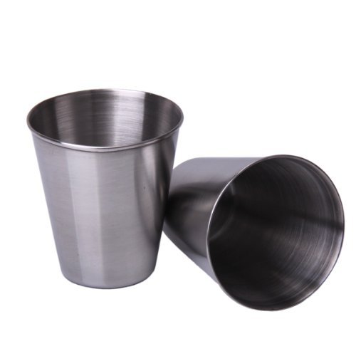 HK 2Pcs Stainless Steel Wine Glass Wine Cup 2.5OZ E5E3