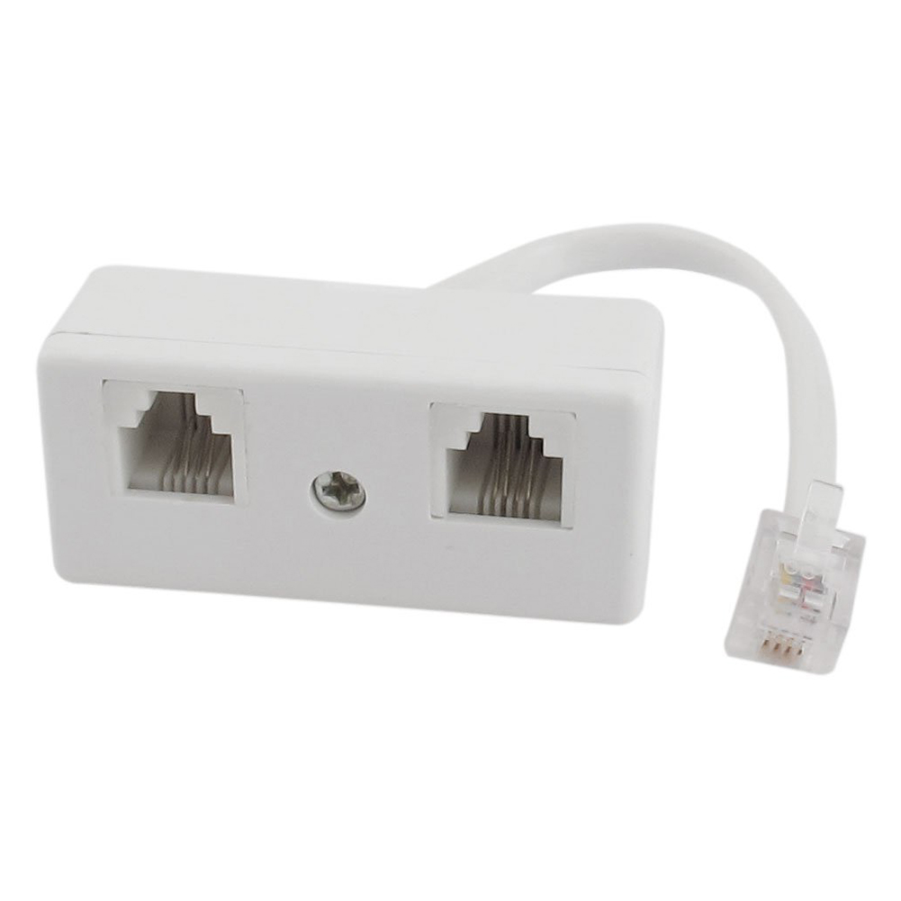 6p4c rj11 male to dual female telephone line splitter