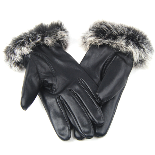 418e56fd3e506 Une paire de gants en cuir Noir avec la bouche de laine pour les dames *  Entierement double avec veloutee sentir * Magnifiquement double pour un  confort