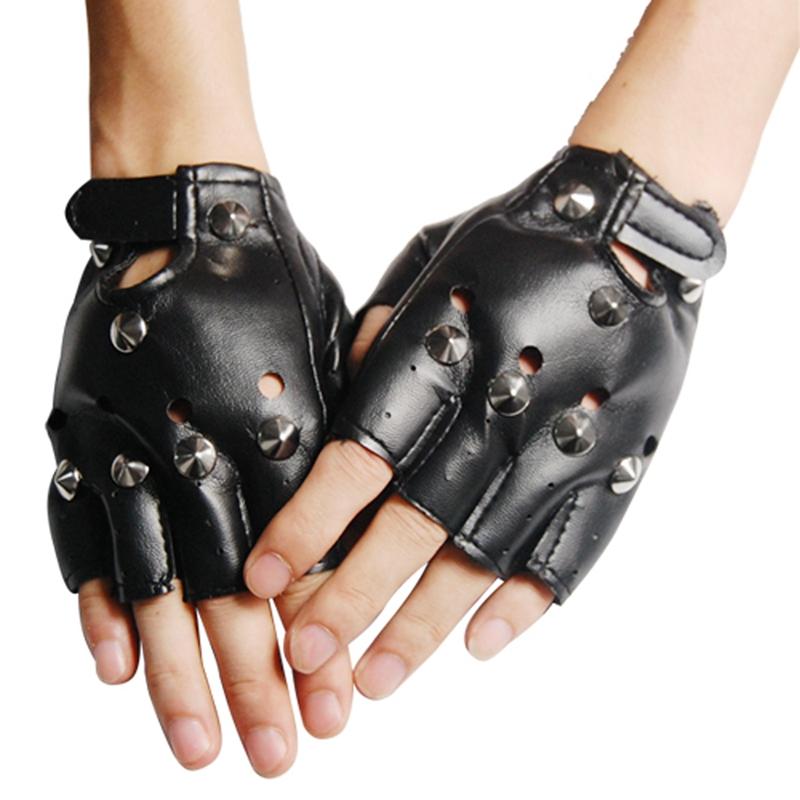 Black Leather LOOK Fingerless Gloves Fancy Dress Y2v9 | eBay
