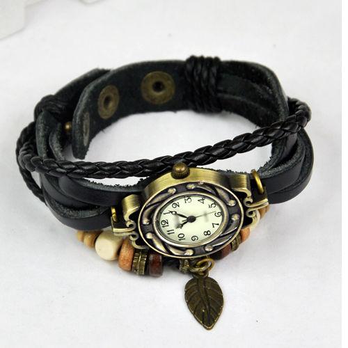Reloj-de-Pulsera-Cuarzo-Banda-de-Cuero-Estilo-Antiguo-para-Chica-Mujer-Negr-R6