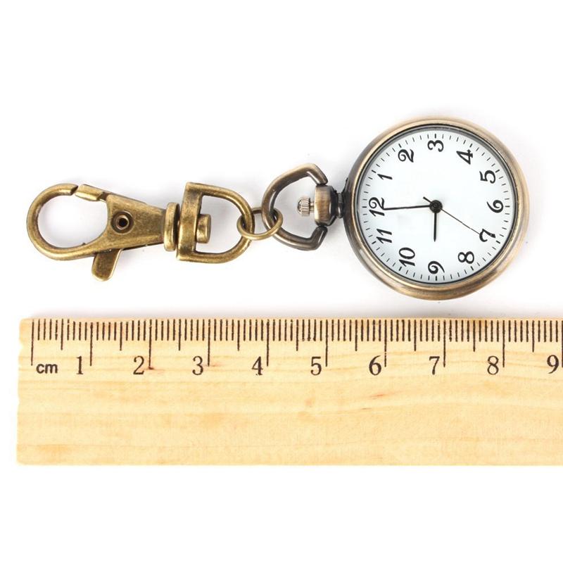 SODIAL-R-Bronze-Couleur-Horloge-a-quartz-de-pendentif-rond-Montre-de-Poche-R1E8 miniature 2