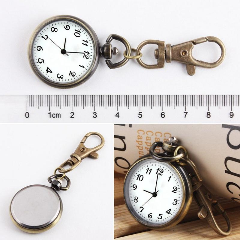 SODIAL-R-Bronze-Couleur-Horloge-a-quartz-de-pendentif-rond-Montre-de-Poche-R1E8 miniature 3