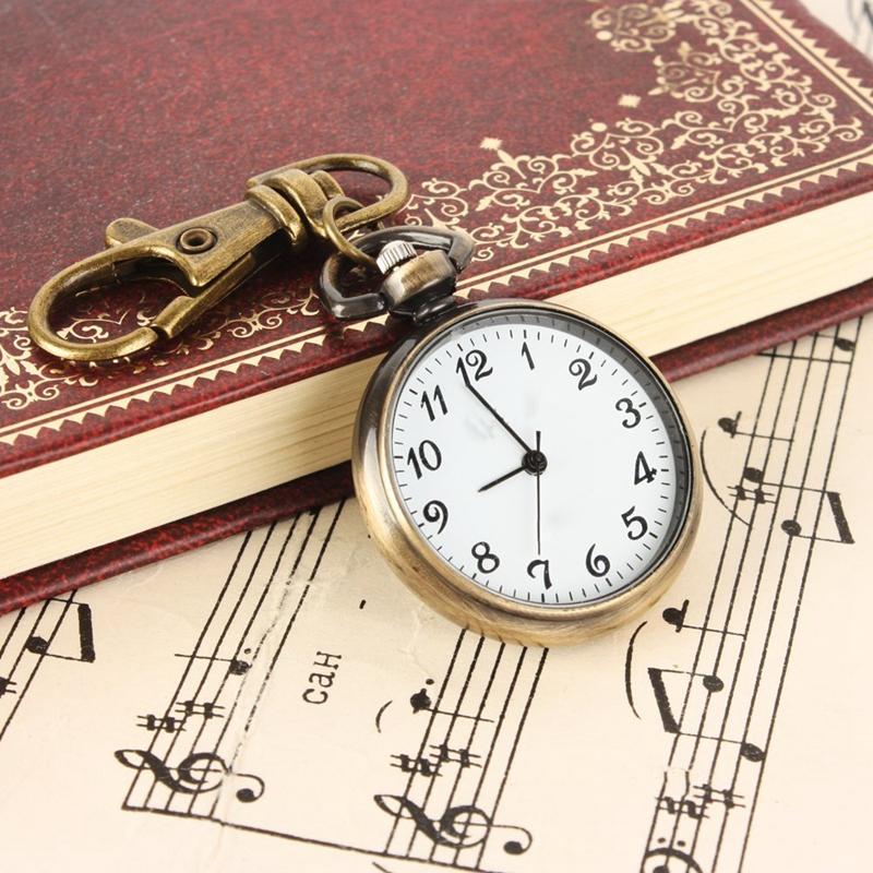 SODIAL-R-Bronze-Couleur-Horloge-a-quartz-de-pendentif-rond-Montre-de-Poche-R1E8 miniature 4