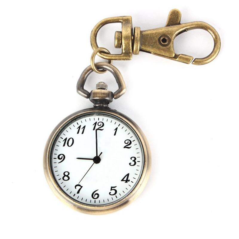 SODIAL-R-Bronze-Couleur-Horloge-a-quartz-de-pendentif-rond-Montre-de-Poche-R1E8