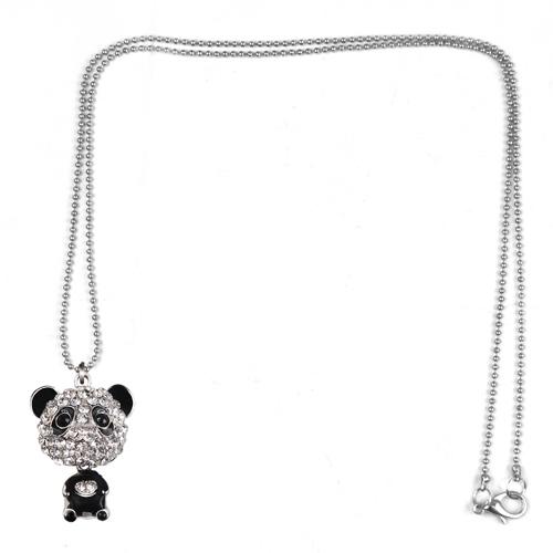 H3 Frauen lange Panda Halskette Anhaenger
