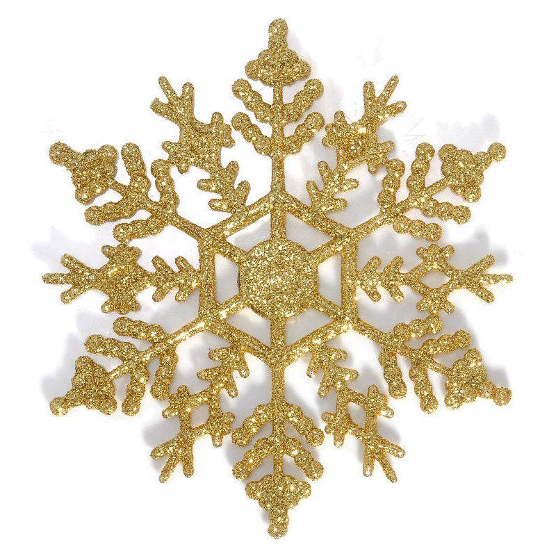 12 stueck funkeln schneeflocke weihnachtsschmuck haengende dekoration gold e7c8 191466266731 ebay - Dekoration gold ...