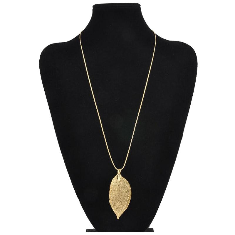 Fashion Femmes Leaf pendentif longue chaîne Chunky déclaration bavoir collier bijoux