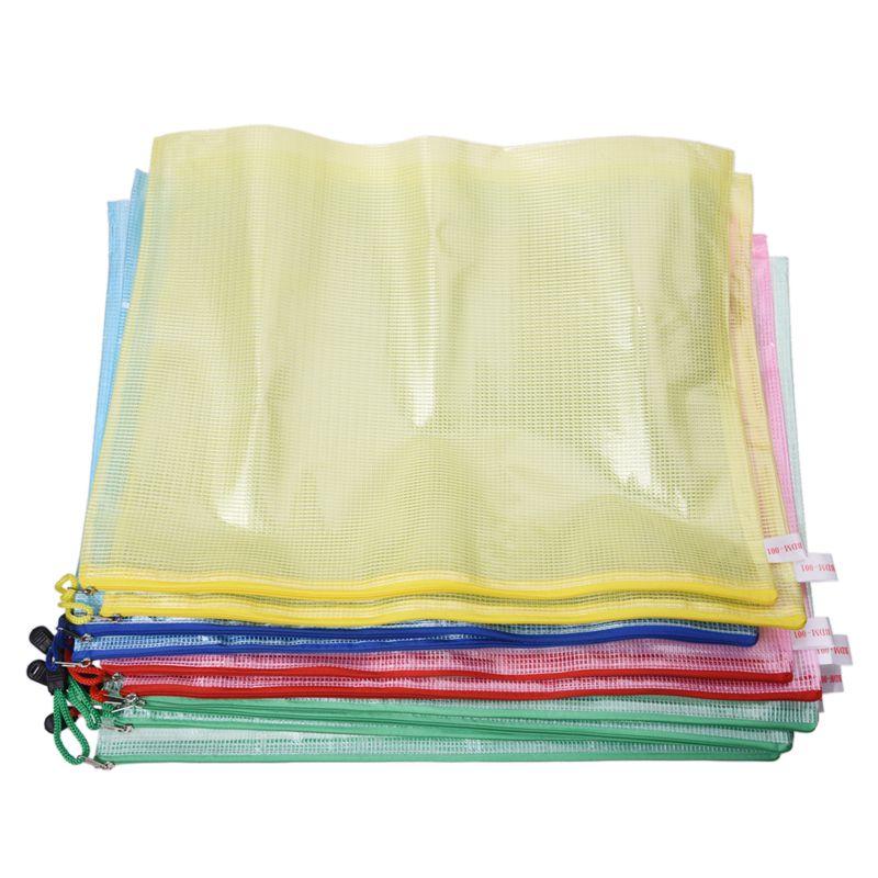 10 Pcs Netting Surface A3 Document File Holder Zipper Bag Multicolor D5W3