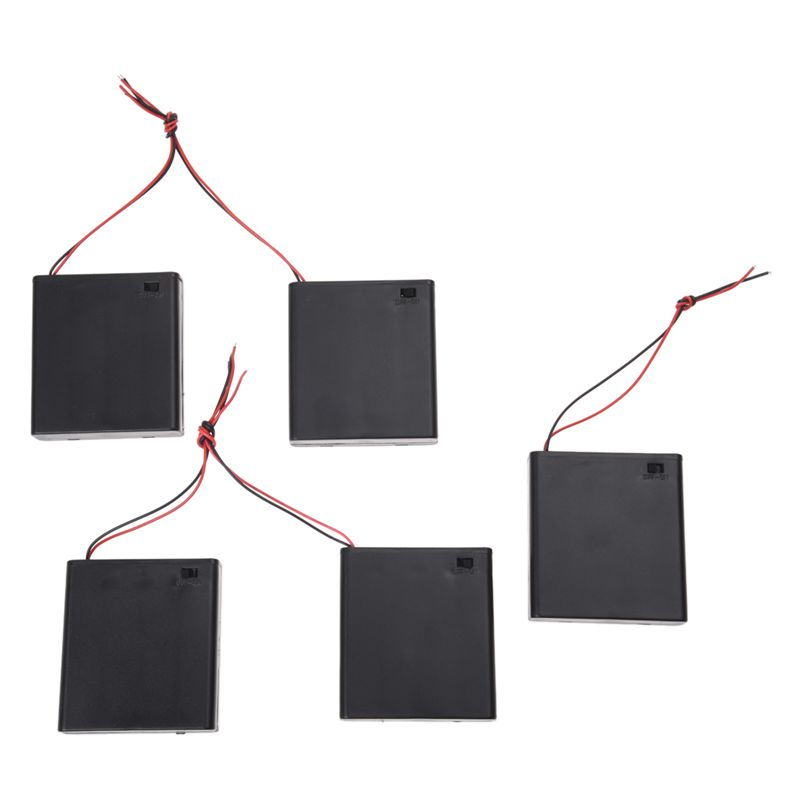 5X(5 Pcs Plastic 2 Wire ON/OFF Switch Cases Holders for 4x1.5V AA ...