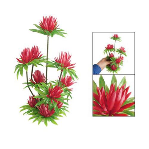 """""""lotus"""" """"nenuphar Rouge"""" Herbe/plante Aquatique Artificielle En Plastique D Q5b9"""