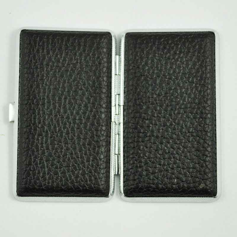 SODIAL-R-Metal-Frame-Black-Faux-Leather-Cigarette-Storage-Case-Box-Z9Z6 thumbnail 2