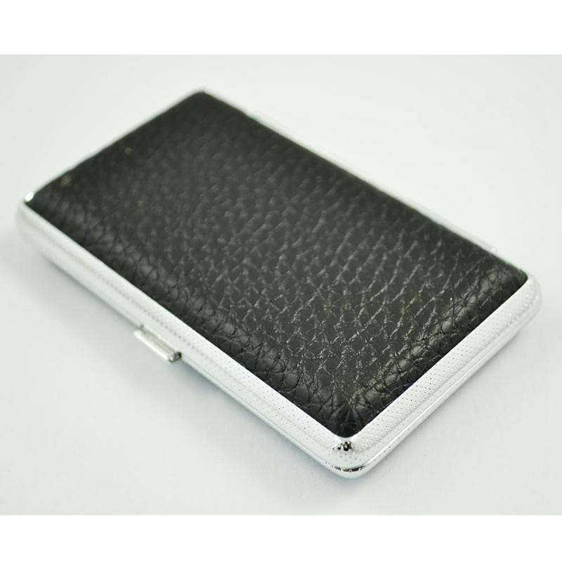 SODIAL-R-Metal-Frame-Black-Faux-Leather-Cigarette-Storage-Case-Box-Z9Z6 thumbnail 3