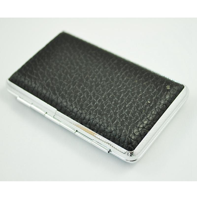 SODIAL-R-Metal-Frame-Black-Faux-Leather-Cigarette-Storage-Case-Box-Z9Z6 thumbnail 4