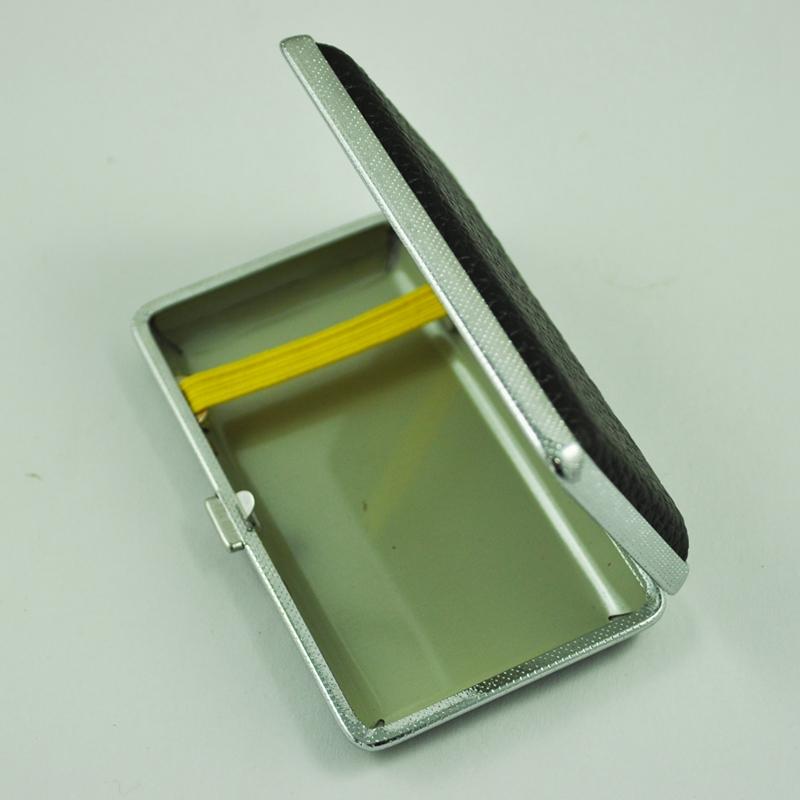 SODIAL-R-Metal-Frame-Black-Faux-Leather-Cigarette-Storage-Case-Box-Z9Z6 thumbnail 5