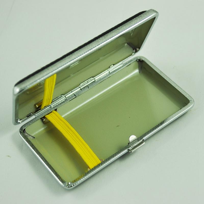 SODIAL-R-Metal-Frame-Black-Faux-Leather-Cigarette-Storage-Case-Box-Z9Z6 thumbnail 6