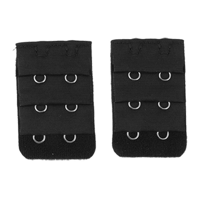Pair Black 3x2 Hooks Bra Extender Hook and Eye Tape M5G9