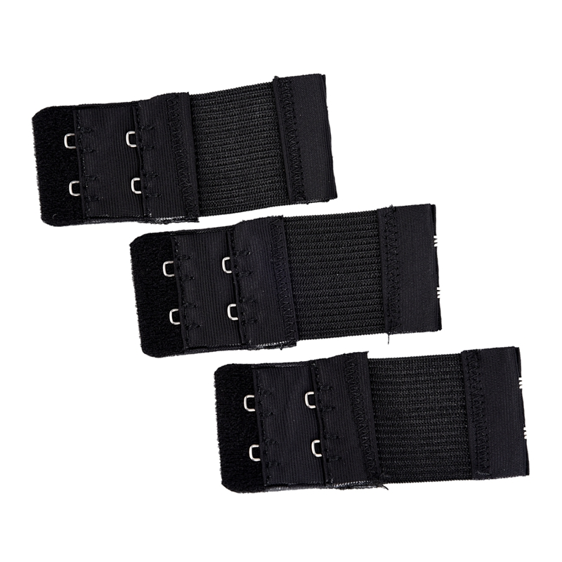 3pcs-Woman-2-x-2-Hook-and-Eye-Tape-Elastic-Extension-Bra-Extender-Black-M7D7
