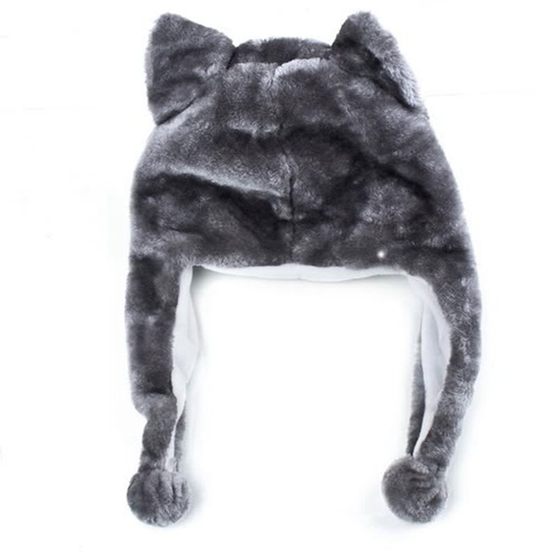 Cartoon-Animal-Husky-Wolf-Fluffy-Plush-Hat-Cap-Scarf-Earmuff-Adult-Kids-Wome-u5o thumbnail 2