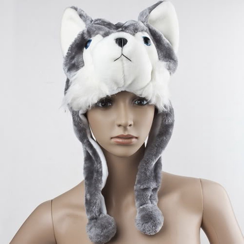 Cartoon-Animal-Husky-Wolf-Fluffy-Plush-Hat-Cap-Scarf-Earmuff-Adult-Kids-Wome-u5o thumbnail 3