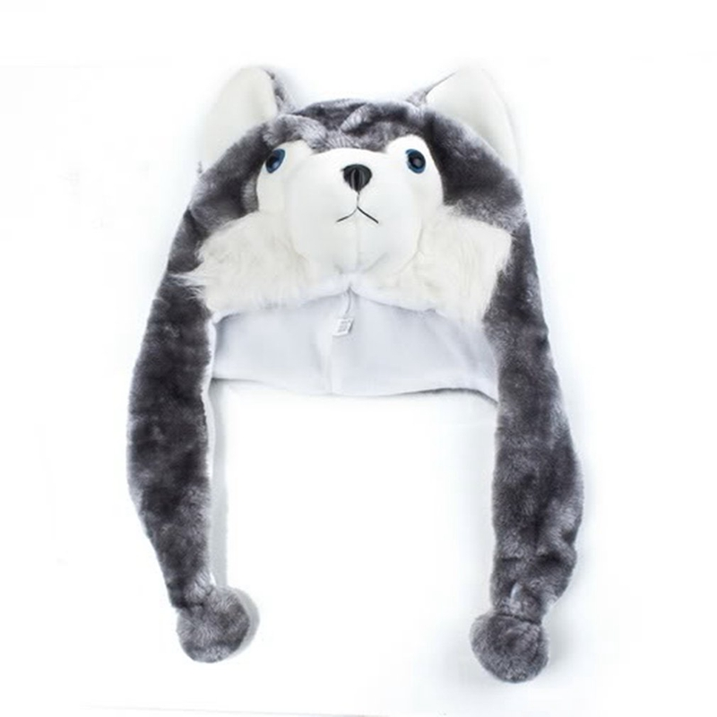 Cartoon-Animal-Husky-Wolf-Fluffy-Plush-Hat-Cap-Scarf-Earmuff-Adult-Kids-Wome-u5o