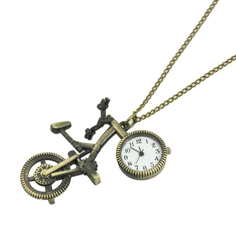 33c76629dda7 La imagen se está cargando Reloj-Collar-Metal-de-Color-Bronce-Colgante-de-