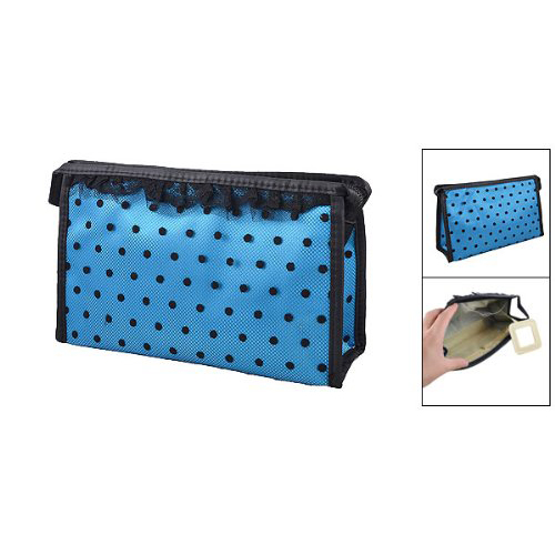 Lady-Zip-up-Blue-Black-Dotted-Lace-Meshy-Makeup-Cosmetic-Bag-Organizer-Hold-G6N1