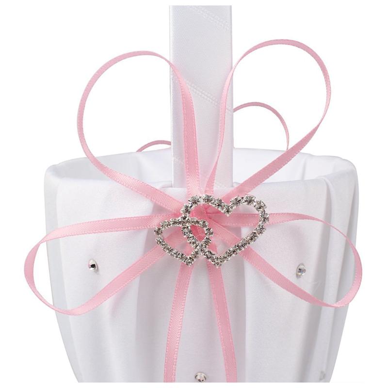 Double-Heart-Wedding-Flower-Girl-Basket-White-Satin-Rhinestone-Decor-V9E6 thumbnail 3