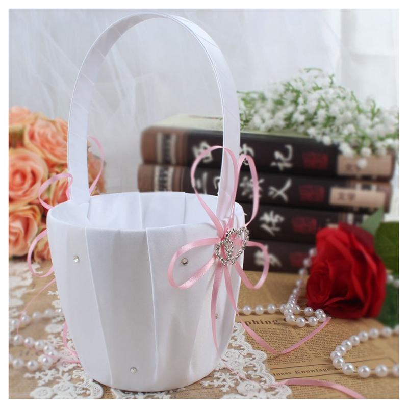 Double-Heart-Wedding-Flower-Girl-Basket-White-Satin-Rhinestone-Decor-V9E6 thumbnail 5