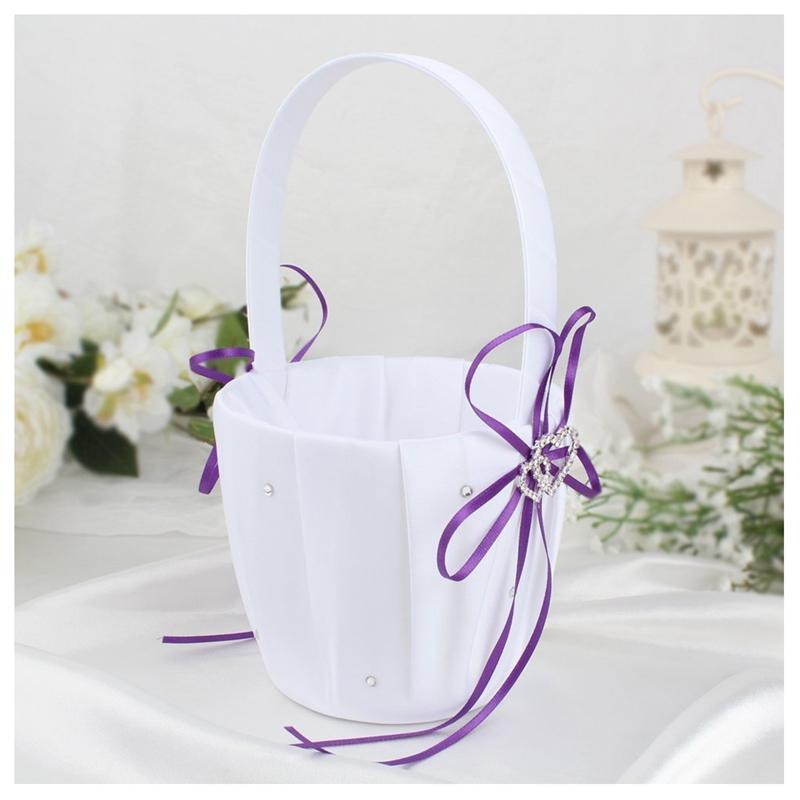 Double-Heart-Wedding-Flower-Girl-Basket-White-Satin-Rhinestone-Decor-V9E6 thumbnail 9