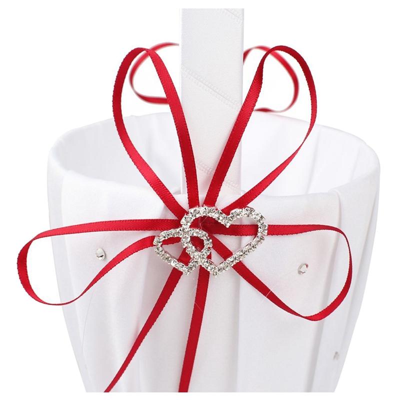 Double-Heart-Wedding-Flower-Girl-Basket-White-Satin-Rhinestone-Decor-V9E6 thumbnail 11