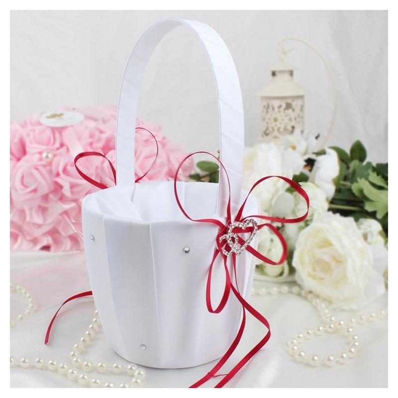 Double-Heart-Wedding-Flower-Girl-Basket-White-Satin-Rhinestone-Decor-V9E6 thumbnail 12