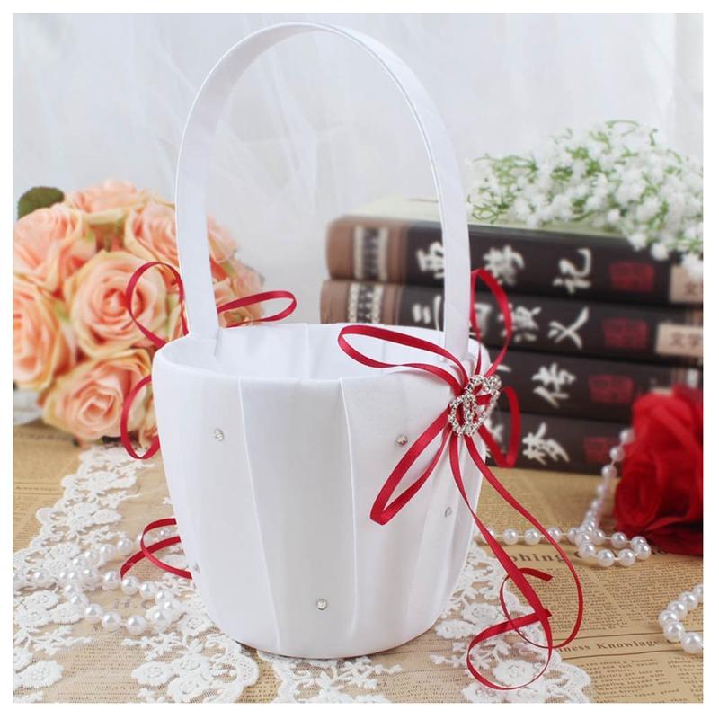 Double-Heart-Wedding-Flower-Girl-Basket-White-Satin-Rhinestone-Decor-V9E6 thumbnail 13