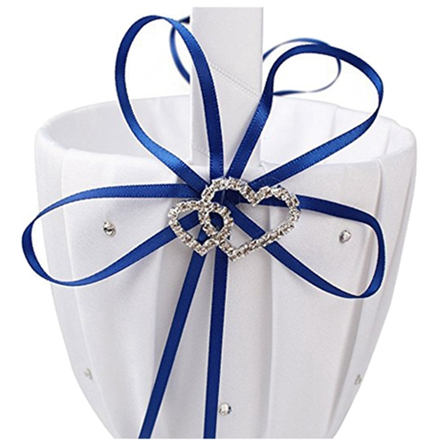Double-Heart-Wedding-Flower-Girl-Basket-White-Satin-Rhinestone-Decor-V9E6 thumbnail 16
