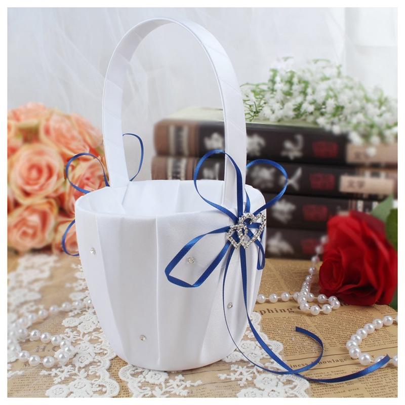 Double-Heart-Wedding-Flower-Girl-Basket-White-Satin-Rhinestone-Decor-V9E6 thumbnail 17