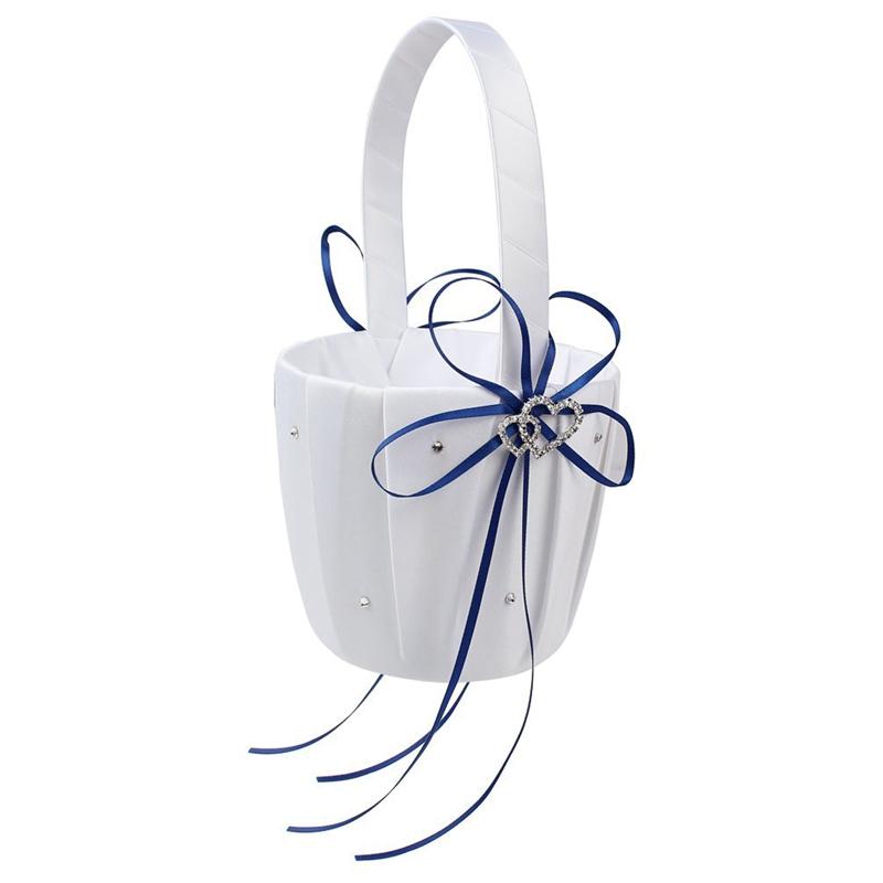 Double-Heart-Wedding-Flower-Girl-Basket-White-Satin-Rhinestone-Decor-V9E6 thumbnail 15
